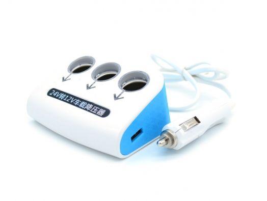 Разветвитель авто VEECLE KY-072 (3 гнезда+2*USB)