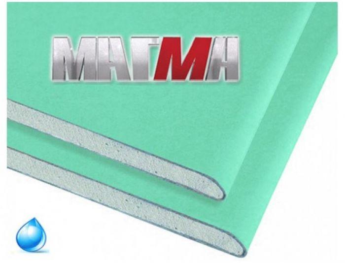 Гипсокартон влагостойкий ГКЛВ Магма, 2500х1200х9.5 мм