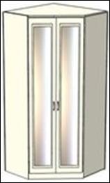 Шкаф-трапеция Ждана зеркальный разносторонний двухдверный, модуль 53 (110-124/100-114 см)