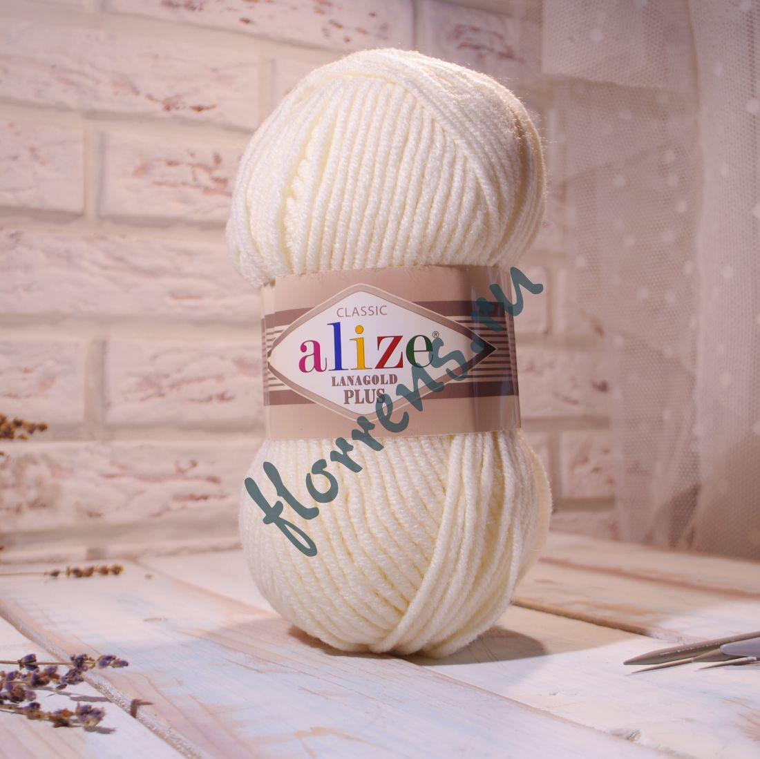 Пряжа Alize Lanagold Plus / 62 молочный