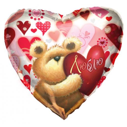 Мишка с сердечком Люблю шар фольгированный сердце с гелием