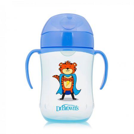 Dr.Brown`s Чашка-поильник 270 мл с мягким носиком и ручками, возраст 9+ (Синий Супергерой) (Арт. ТС91025)