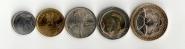 КОЛУМБИЯ - Набор 5 монет 2012-2014 Животные UNC