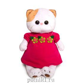 Кошечка Ли-Ли в малиновом платье с цветочками