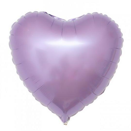 Сердце большое лиловое шар фольгированный с гелием