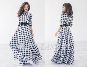 Платье в пол в черно-белую клетку с длинными рукавами