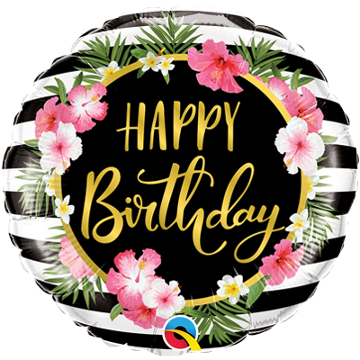 С днем рождения тропический с полосками и гибискусами шар фольгированный с гелием