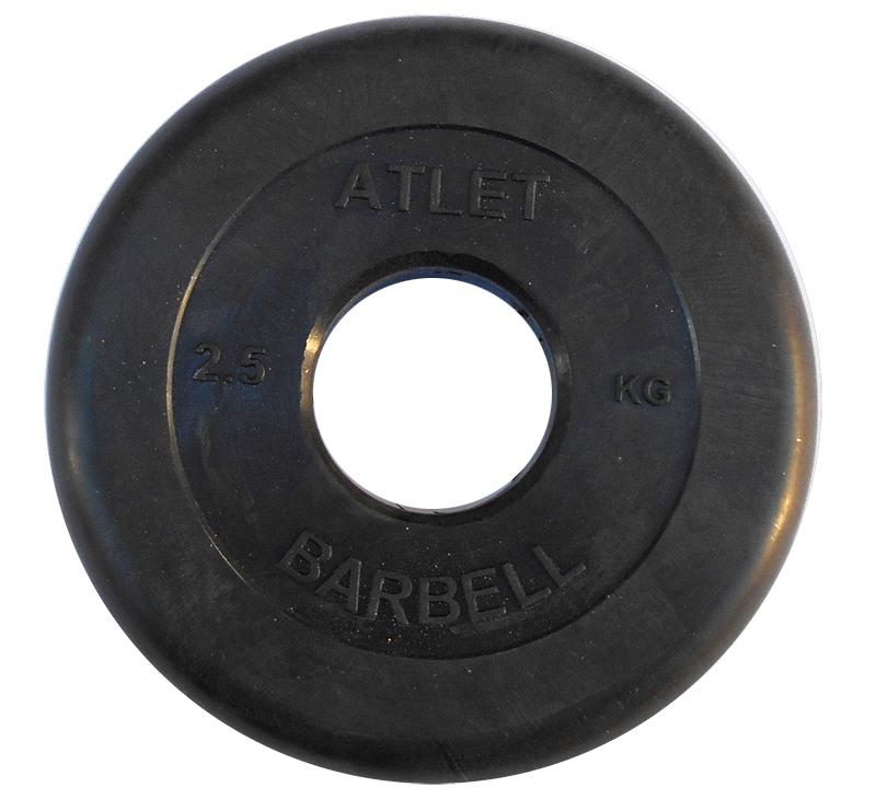 Диски обрезиненные, чёрного цвета, 51 мм, Atlet MB-AtletB50-2,5
