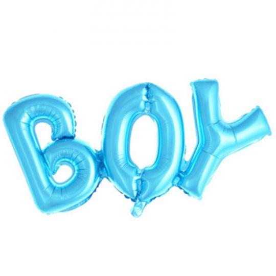 Слово BOY голубое шар фольгированный с воздухом