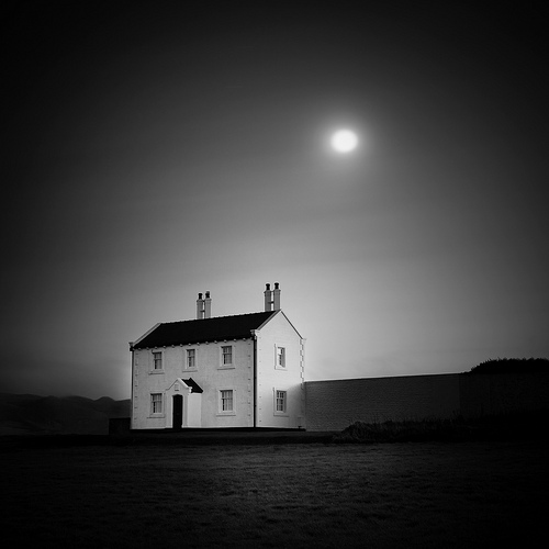 White Cottage and Moon