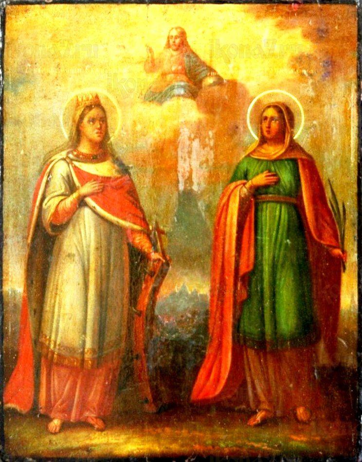 Икона Екатерина и Капитолина Каппадокийские (копия старинной)