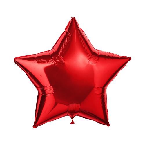 Звезда красная большая шар фольгированный с гелием