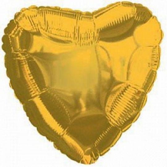 Сердце золотое большое шар фольгированный с гелием