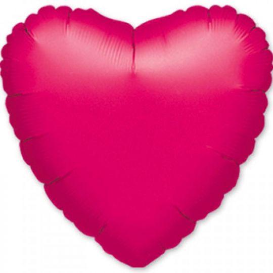 Сердце фуксия большое шар фольгированный с гелием