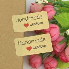 Наклейки Hand Made с любовью прямоугольник (2*4 см)