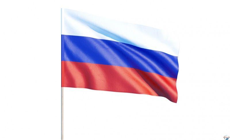 Флаг Россия с флагштоком 60х90см.