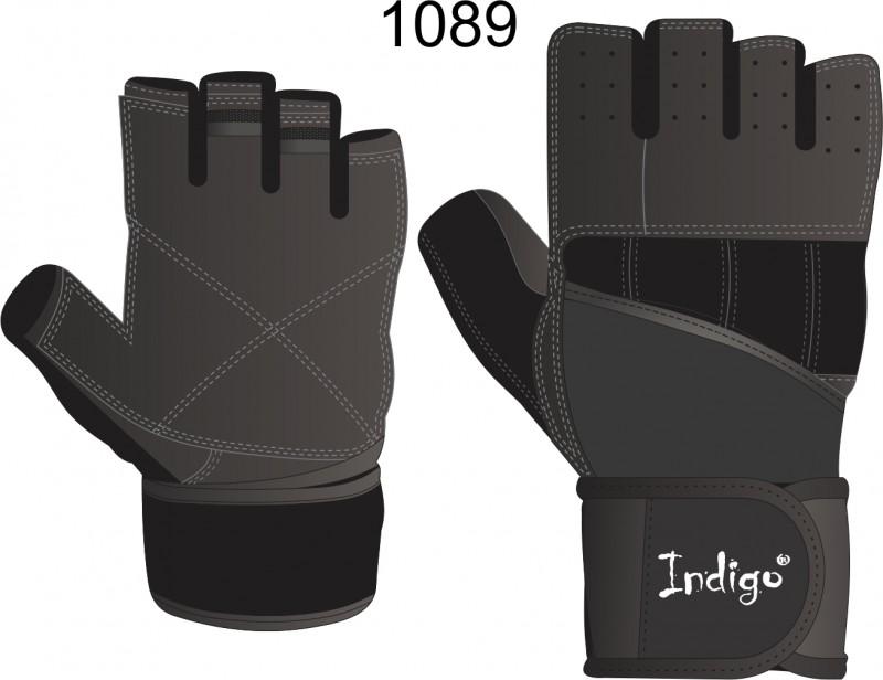 Перчатки тяжелоатлетические INDIGO SB-16-1089  (кожа, спандекс, неопрен)