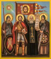 Икона Дмитрий Донской и Сергий Радонежский с Александром Пересветом и Андреем Ослябей