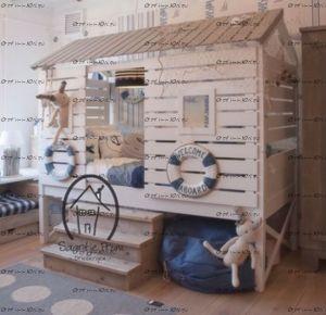 Кровать-чердак Домик №80 Wood