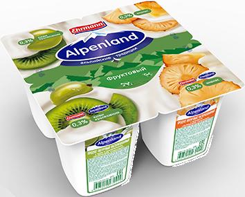 Йогурт Alpenland 0,3% киви/крыжовник/ананас 95г ООО Эрманн