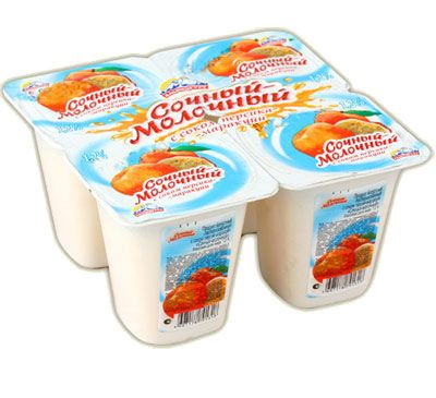 Йогурт Альпенгурт Сочный-молочный 1,2% персик-маракуйя 95г