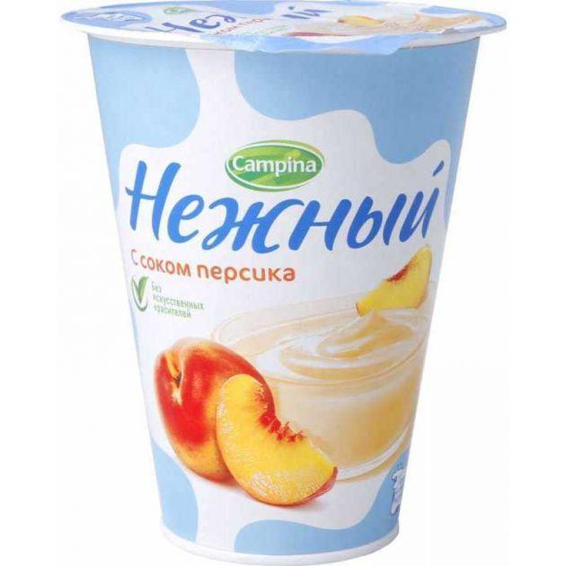 Йогурт Кампина Нежный 1,2% персик 320г ООО Кампина