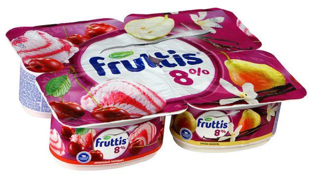 Йогурт Фруттис 8% вишневый пломбир/груша/ваниль 115г ООО Кампина