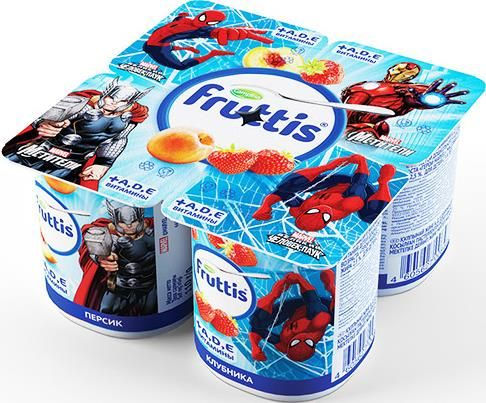 Продукт йогуртный Фруттис 2,5% детский паст.клубника/персик с витаминами 110г Кампина