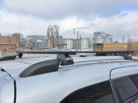 Багажник на крышу - стальные прямоугольные дуги на рейлинги Peugeot Partner 2008-..., Евродеталь