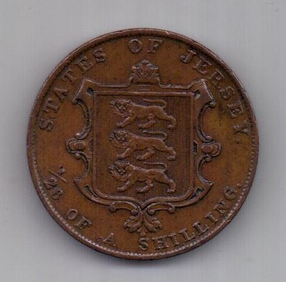 1/26 шиллинга 1844 г. AUNC. Джерси. Великобритания