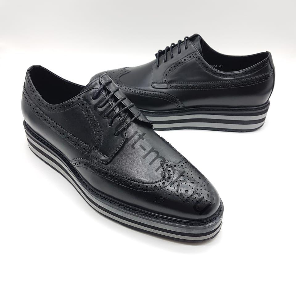 24414752 Мужские туфли, ботинки кожаные Прада (Prada) из натуральной кожи ...