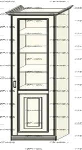 Шкаф-пенал (колонка) Ферсия, мод. 11 для белья (Б) или белья (Б) (верхние полки стекло 5 мм.) МДФ