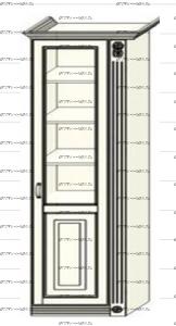 Шкаф-пенал (колонка) Ферсия, мод. 13 для белья (Б) или белья (Б) (верхние полки стекло 5 мм.) МДФ