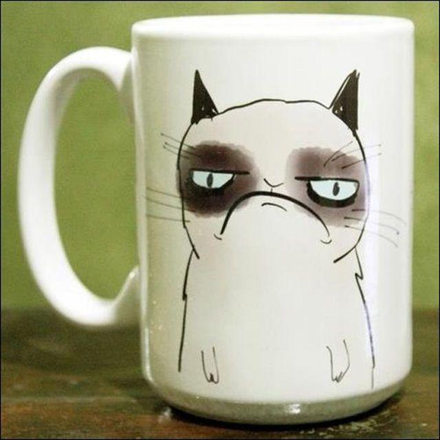 Кружка Грустный кот белая с рисунком