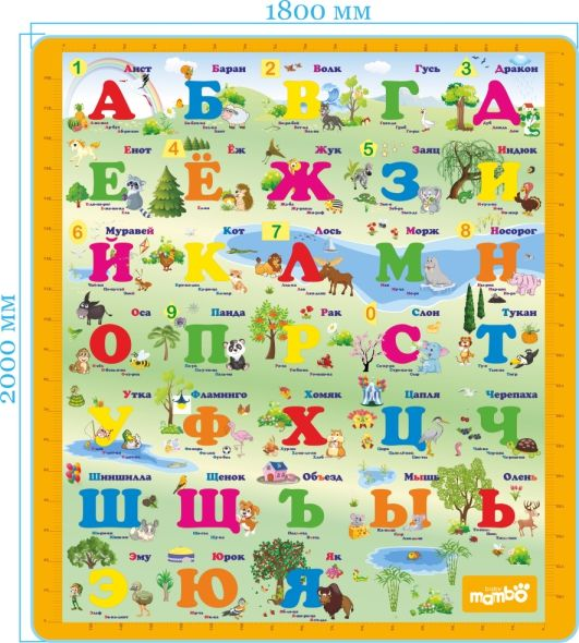 "Mambobaby Дет.развивающий коврик ""Русский Алфавит"" односторон, 004ТМ"