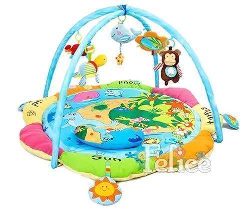 """Felice F Детский коврик """"Весёлый островок"""" с мягким огражд., муз. кит, дуги с игрушками погремушками, подушка, 06FS"""