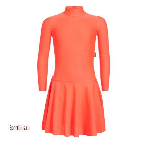 купить платье для бальных танцев из оранжевого бифлекса