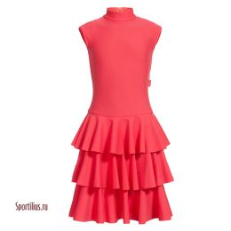 Платье из бифлекса для спортивных танцев красное