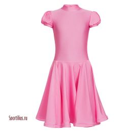 Детское платье для бальных танцев розовое