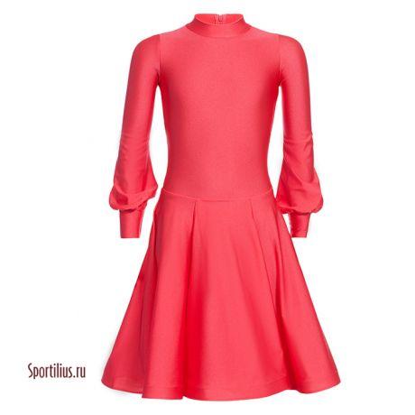 Платье для бальных танцев красное, рукав фонарик