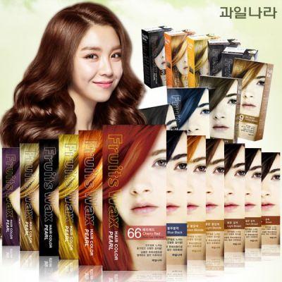 Краска для волос на фруктовой основе Welcos Fruits Wax Pearl Hair Color  60мл*60гр