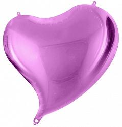 Сердце фигурное лиловое шар фольгированный с гелием