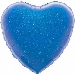 Сердце синее голографическое фольгированный шар с гелием