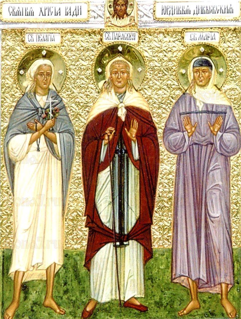 Икона Пелагия, Параскева и Мария Дивеевские (копия старинной)