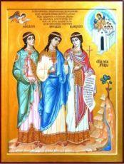 Митродора, Минодора и Нимфодора Вифинские (икона на дереве)