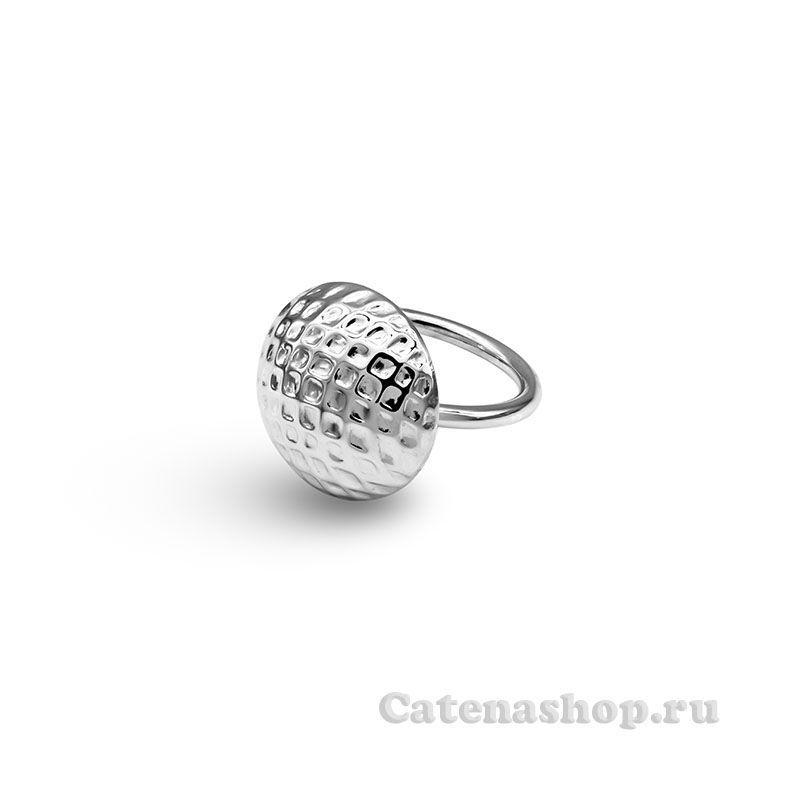"""Кольцо серебряное """"Матовая пуговка с точками """""""