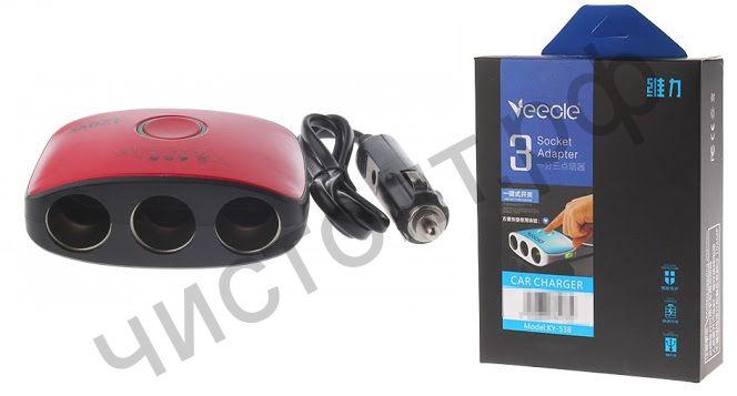 Разветвитель прикуривателя VEECLE KY-538 (3 выхода +2*USB) провод