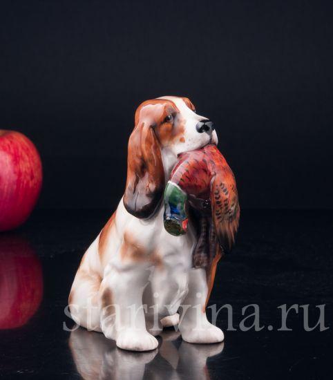 Фарфоровая статуэтка собаки Спаниель с фазаном производства Royal Doulton, Великобритания