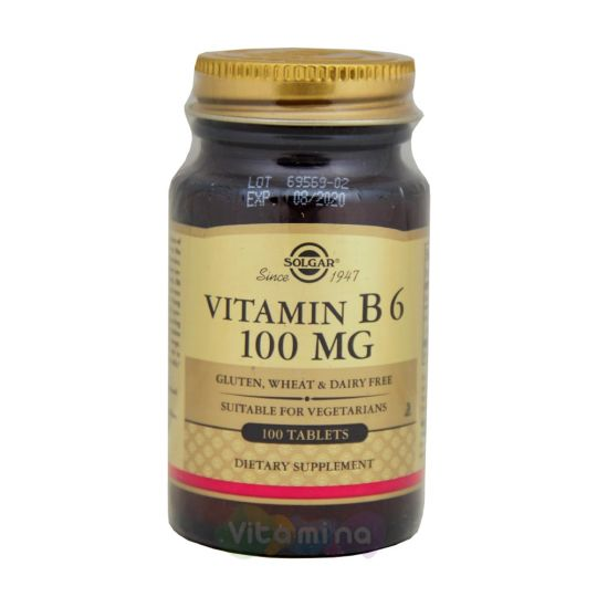 Солгар Витамин В6 100 мг, 100 табл