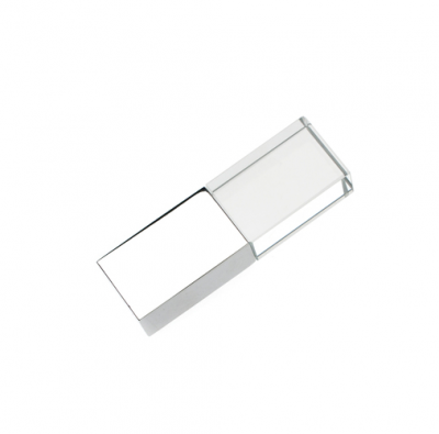 4GB USB-флэш накопитель Apexto UG-002 стеклянный, глянцевый метал, белый LED